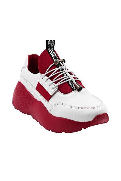 Abbondare Hakiki Deri Beyaz-kırmızı Kadın Spor Ayakkabı-sneaker