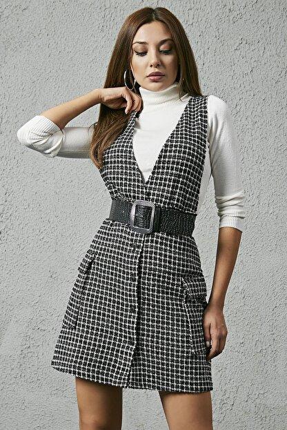 Sateen Jile Tüvit Elbise - Siyah