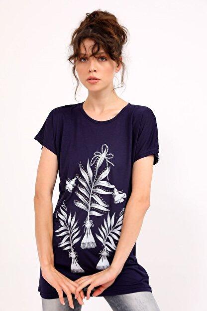 metropol tekstil Krt-050 Desenli Tshirt Lacivert
