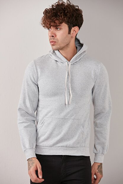 CATSPY Erkek Kapüşonlu Basic Örme Sweatshirt