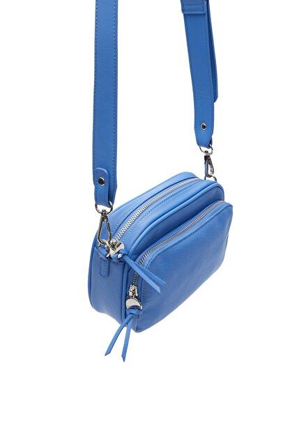 Stradivarius Kadın Mavi Kumaş Çapraz Askılı Çanta