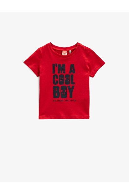 Koton Erkek Bebek Kırmızı Kısa Kollu Yazılı Baskılı Pamuklu T-Shirt