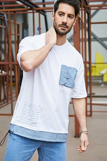 Sateen Men Erkek Beyaz Cepli T-Shirt