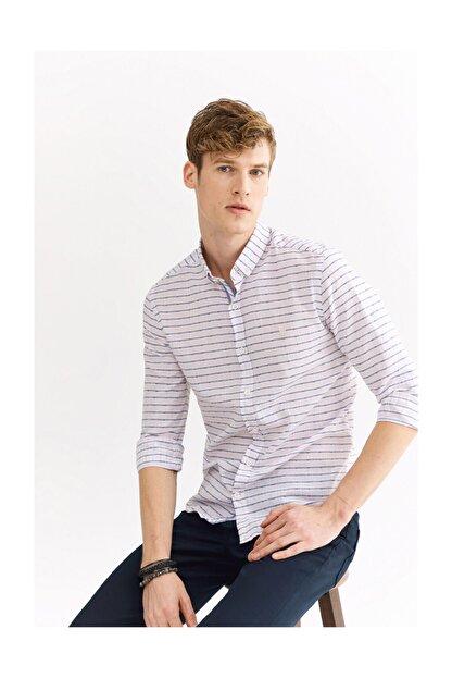Avva Erkek Açık Pembe Enine Çizgili Düğmeli Yaka Slim Fit Gömlek A01y2111