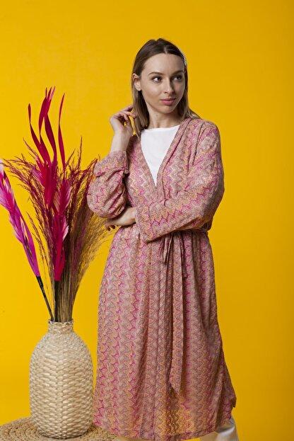 Benna Zig Zag Desenli Yazlık Kimono