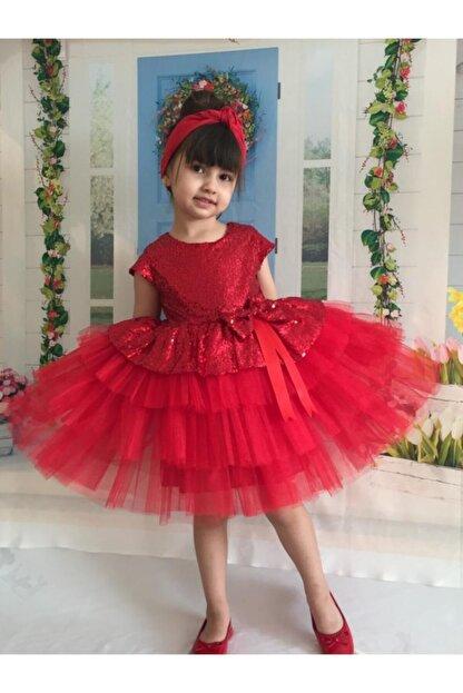 Buse&Eylül Bebe Kırmızı Pul Payet Kız Çocuk Elbisesi