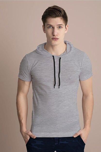 Tena Moda Erkek Gri Melanj Kapüşonlu Düz Tişört