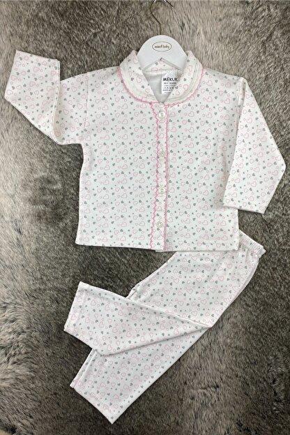 Miniel Sevgi Pıtırcığı Kalpli Kız Bebek Patiksiz Pijama Takımı