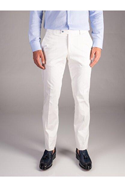 Dufy Beyaz Düz Erkek Pantolon - Regular Fıt