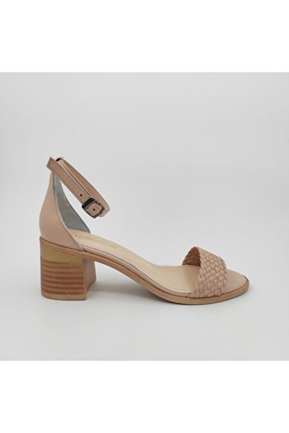 Dericlub Nk315 Bej Kadın Tek Bant Topuklu Deri Ayakkabı