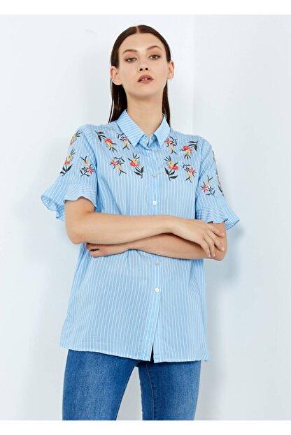 Adze Kadın Mavi Çizgili Çiçek Desenli Düğmeli Gömlek Mavi S