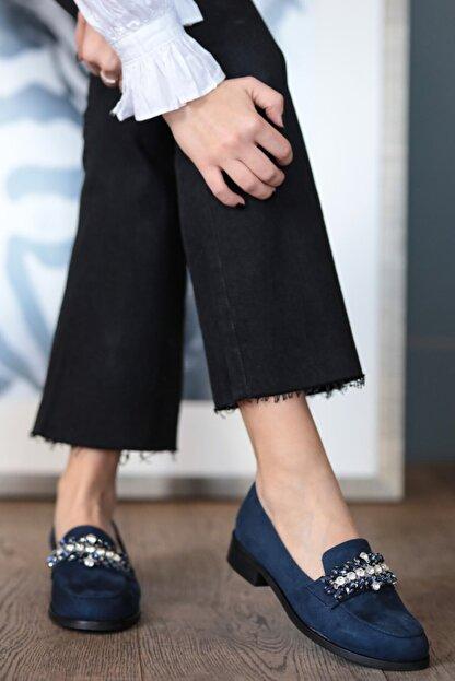 Mio Gusto Matilda Lacivert Süet Taşlı Oxford Ayakkabı