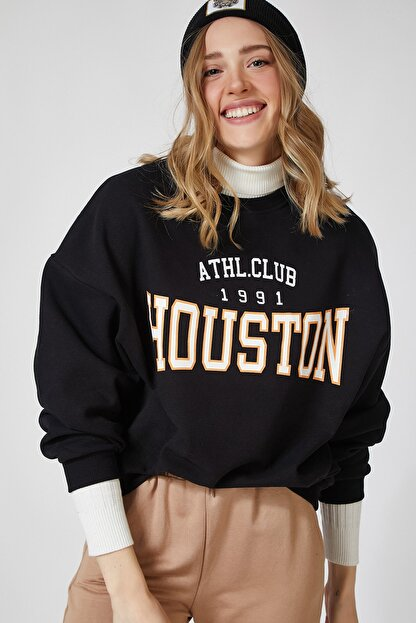 Happiness İst. Kadın Siyah Baskılı Polarlı Sweatshirt HF00169