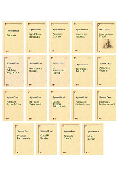 Tutku Yayınevi Sigmund Freud Kitap Seti - Psikoloji - Felsefe - 19 Kitap