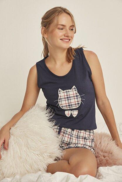 C&City 4526 Kadın Şortlu Pijama Takım Lacivert
