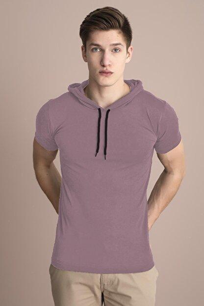 Tena Moda Erkek Pudra Kapüşonlu Düz Tişört