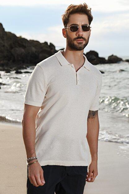CHUBA Bej Erkek Polo Yaka Triko T-shirt