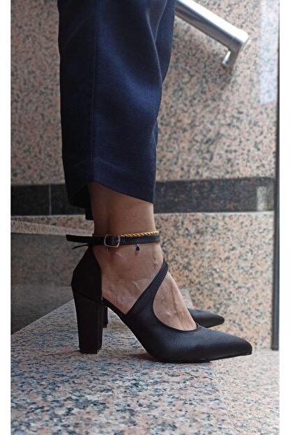 DS AYAKKABI Siyah Saten Modelli Kadın Stiletto