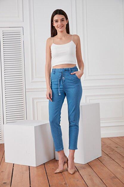 DELICHA Kadın Kuşaklı Mavi Jean 733