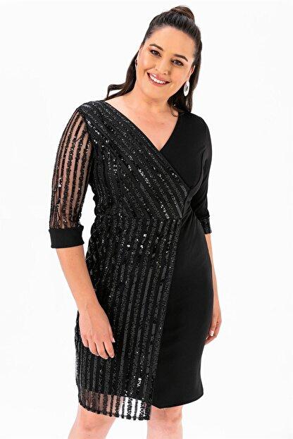 By Saygı Kol Pul Payet Büyük Beden Elbise Siyah