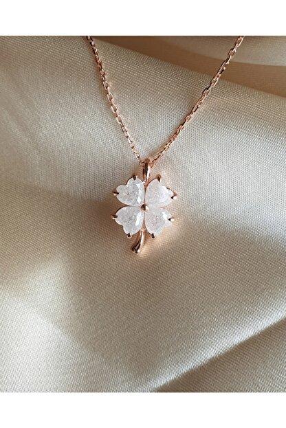 AME SOEUR 925 Ayar Gümüş White Four Leaf Clover