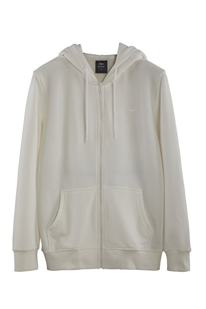 Minimalist Kadın Beyaz Kapşonlu Fermuarlı Basic Sweatshirt