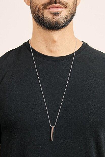 X-Lady Accessories Erkek Gümüş Kaplama Çubuk Kolye