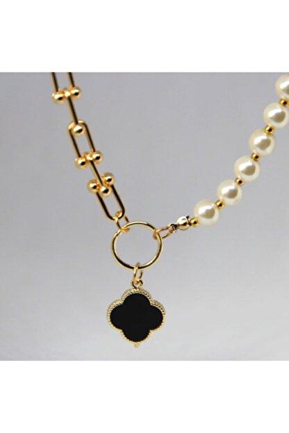 Vega Accessories Siyah Mineli Altın Kaplama Kolye