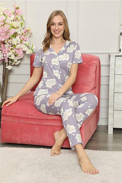 modalove Kadın Düğmeli Kısa Kol Pamuklu Pijama Takımı