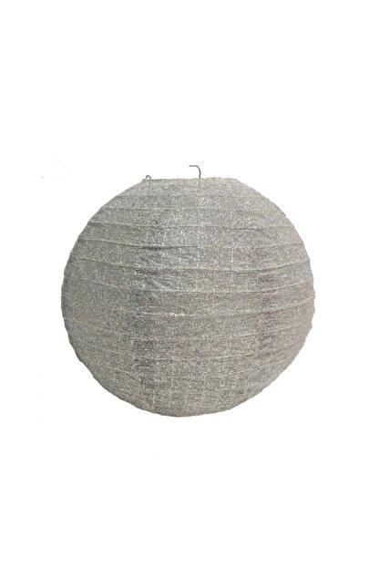 Niyet Japon Feneri - Simli Gümüş - Dekorasyon - Süsleme - Çap 25cm