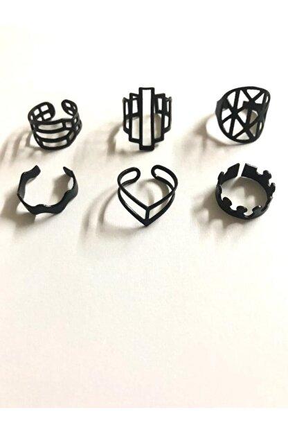 AKTUEL 6 Adet Ayarlanabilir Siyah Eklem Yüzüğü