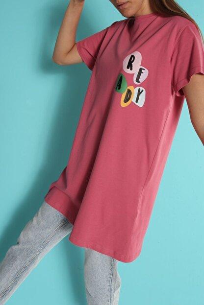 ALLDAY Gül Kurusu Baskılı Kısa Kol T-shirt