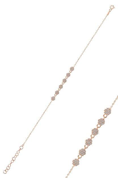 Söğütlü Silver Gümüş Rose Zirkon Taşlı Çiçek Bileklik