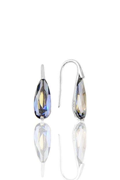Söğütlü Silver Gümüş Rodyumlu Mavi Mistik Taşlı Damla Küpe