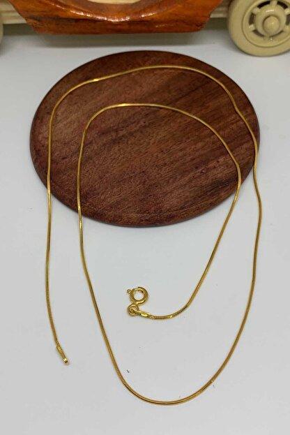 Artuklu Telkari Italyan Gümüş Altın Kaplama Yassı Ezme 40cm Gümüş Zincir Kolye