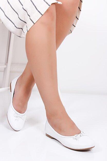 Deripabuc Hakiki Deri Beyaz Kadın Deri Babet Pcc-0001