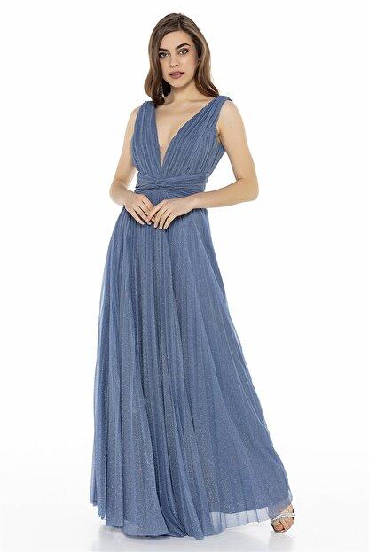 Abiye Sarayı Mavi Bel Detaylı Sırt Dekolteli Tül Elbise