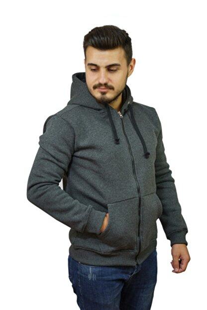 OG Casual Antrasit Melanj Fermuarlı Kapüşonlu Sweatshirt