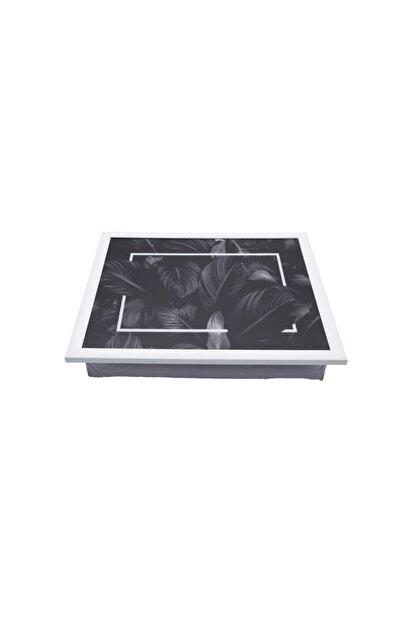 Yedi Home&Decor Keyif Tepsisi_black Leaves (Bilgisayar Ve Kahvaltı Tepsisi) Çok Amaçlı Kullanım