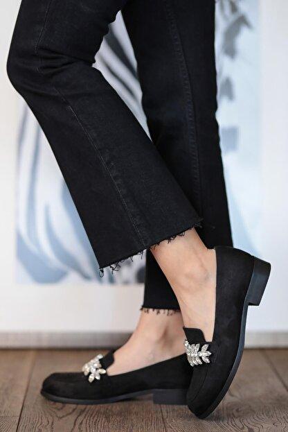 Mio Gusto Matilda Siyah Süet Taşlı Oxford Ayakkabı
