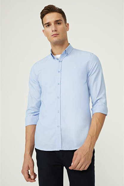Avva Erkek Mavi Oxford Düğmeli Yaka Slim Fit Gömlek E002000