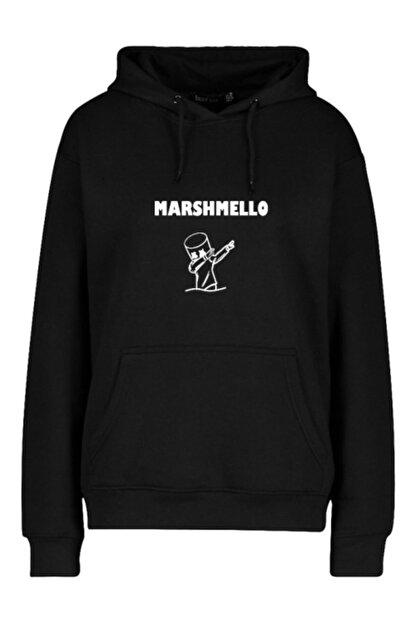 FAVORİZADE Ünisex Siyah Marshmello Baskılı Kapüşonlu Sweatshirt