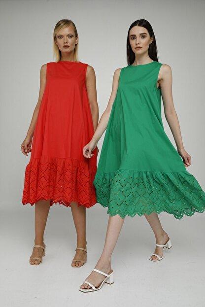 Cream Rouge 20-1272 Elbise Sıfır Kol Eteği Fistolu