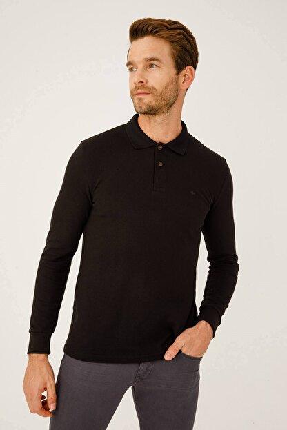 İgs Erkek Siyah Standart Polo Yaka Sweatshirt