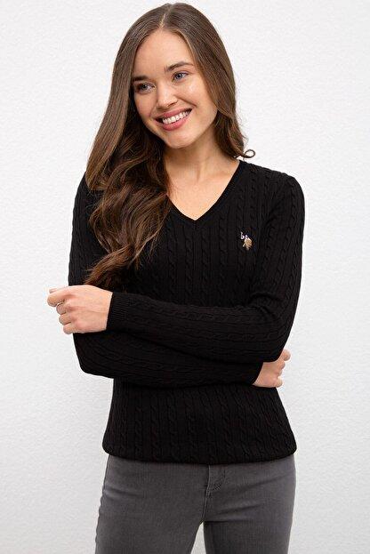 US Polo Assn Siyah Kadın Triko Kazak