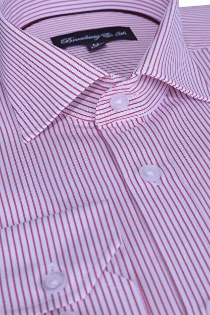 Otto Moda Broadway Uzun Kollu Bordo Çizgili Erkek Gömlek