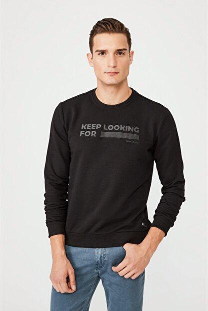 Avva Erkek Siyah Bisiklet Yaka Enjeksiyon Baskılı Sweatshirt A02y1079