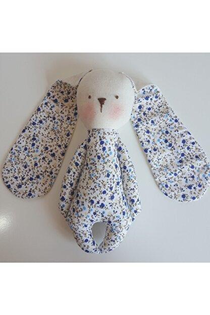 BERLİNA DOLLS Uyku Arkadaşı Mavi Çiçek Desenli Organik Tavşan-boyu:24cm