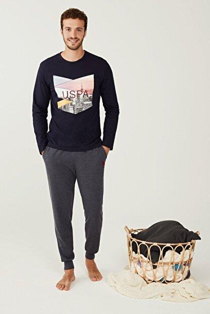 US Polo Assn Erkek Lacivert Yuvarlak Yaka Pijama Takım 18230