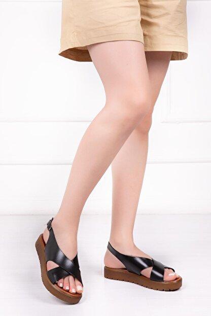 Deripabuc Hakiki Deri Siyah Kadın Deri Sandalet Dp-1069